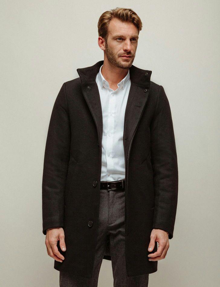 Manteau long hiver à boutons Brice - noir (du M au XXL)