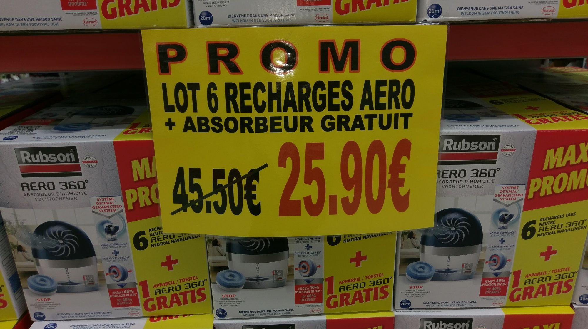Absorbeur Rubson Aero 360° (20 m²) + lot de 6 recharges Aero au Carrefour Plouzané (29)