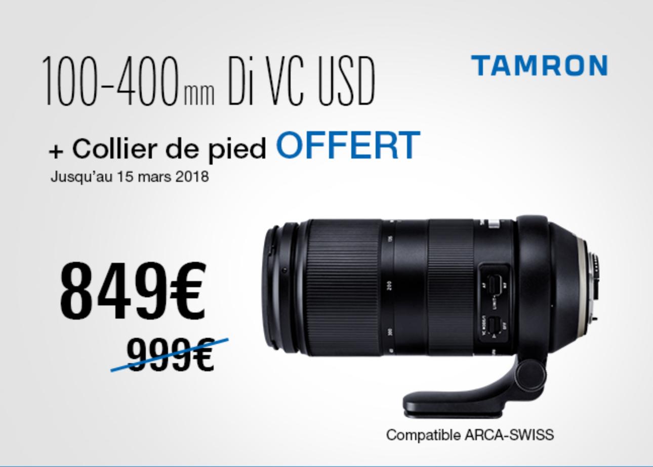 Objectif Tamron 100-400mm f/4,5-6,3 Di VC USD + Collier de pied (tous les marchands)