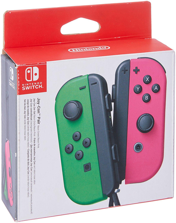 Paire de Joy-Con pour Nintendo Switch - Couleur vert et rose néon