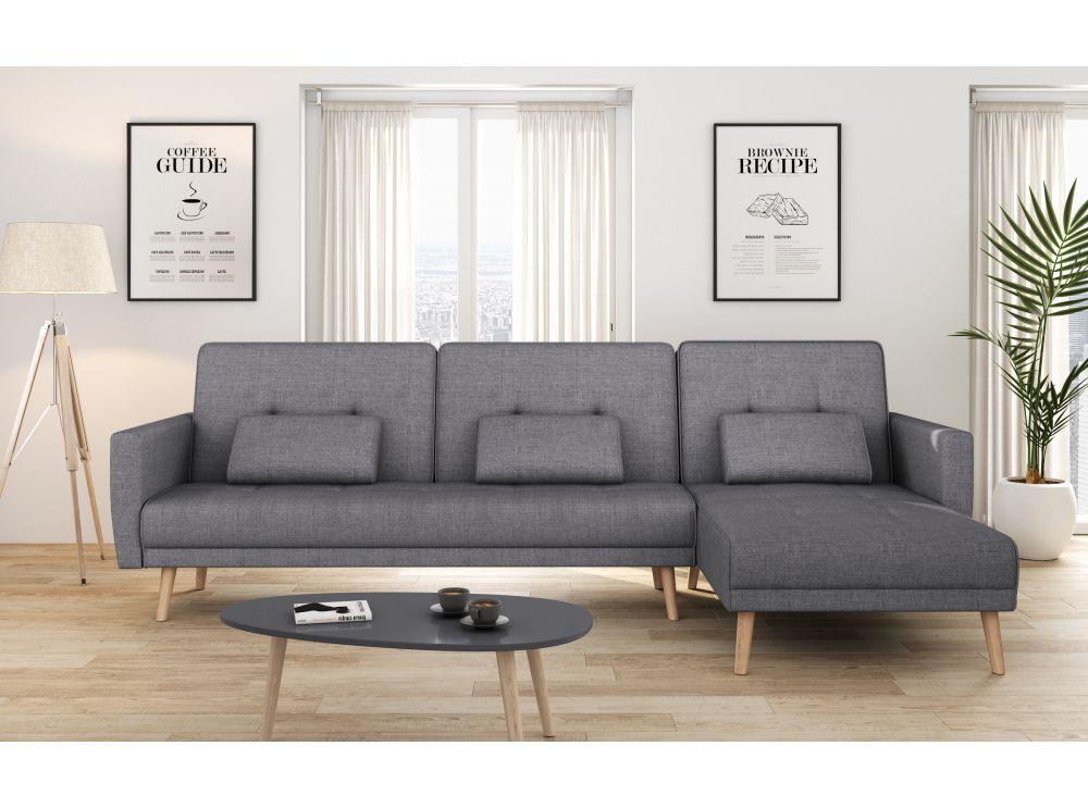 Canapé d'angle réversible et convertible 4 places tissu ZOEY