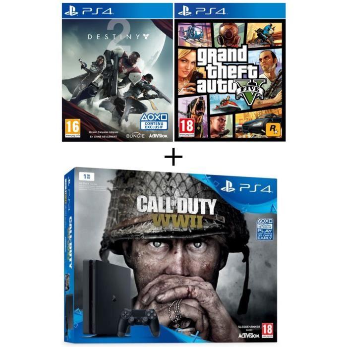 Console Sony PS4 Slim 1 To + Call of Duty : World War II + Qui-es-tu ? (jeu PlayLink) + GTA V + Destiny 2