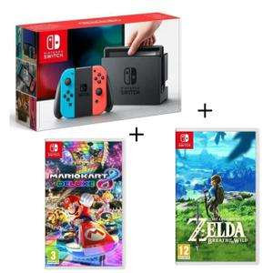 Console Nintendo Switch Néon + Mario Kart 8 + Zelda Breath of the Wild