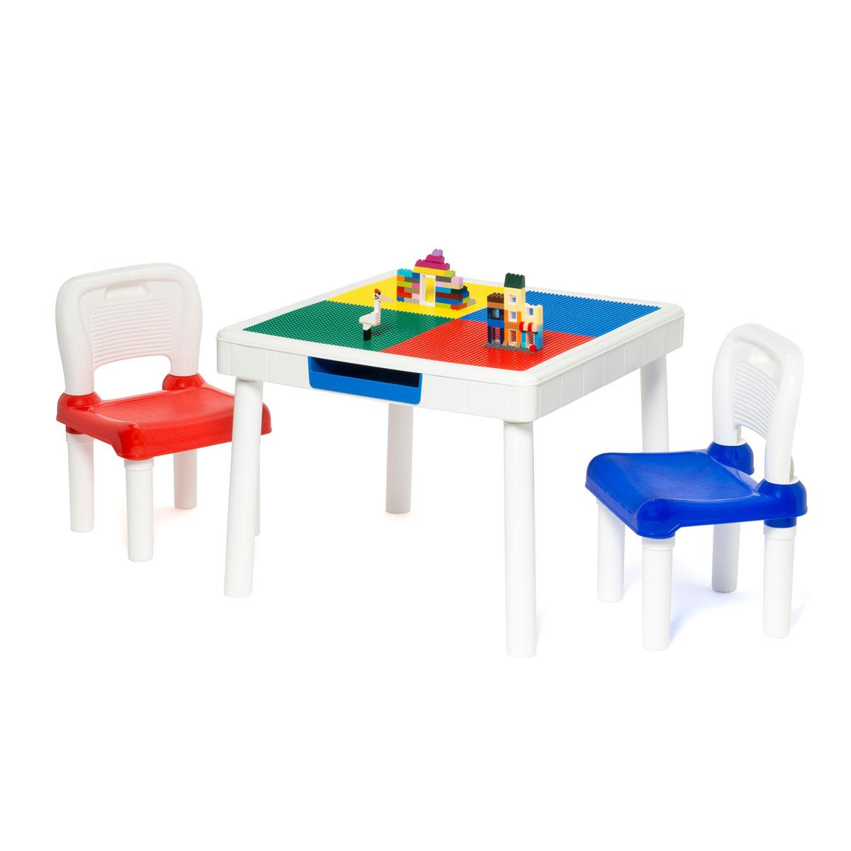 Table de construction carrée et ses deux chaises