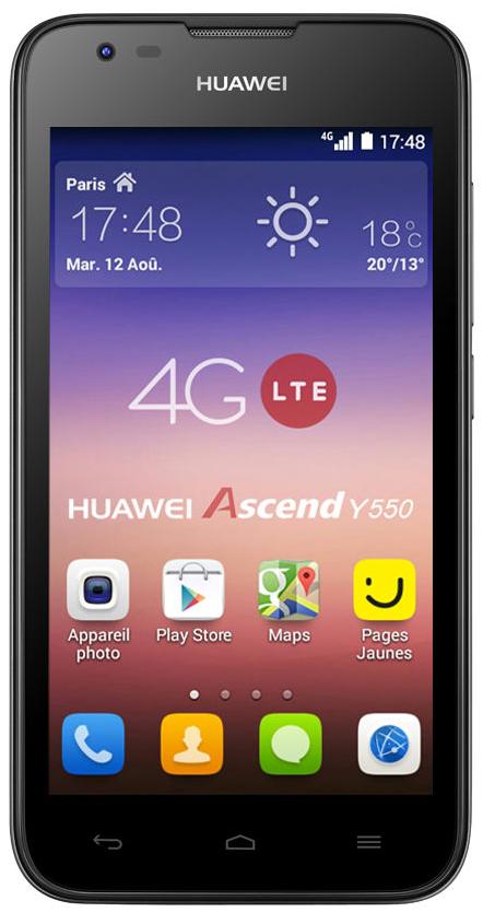 """Smartphone 4,5"""" Huawei Ascend Y550 blanc 4G + 2 coques blanche et noire (via ODR 30€)"""