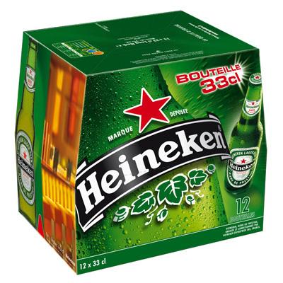 Pack de 12 bières de 33 cl Heineken