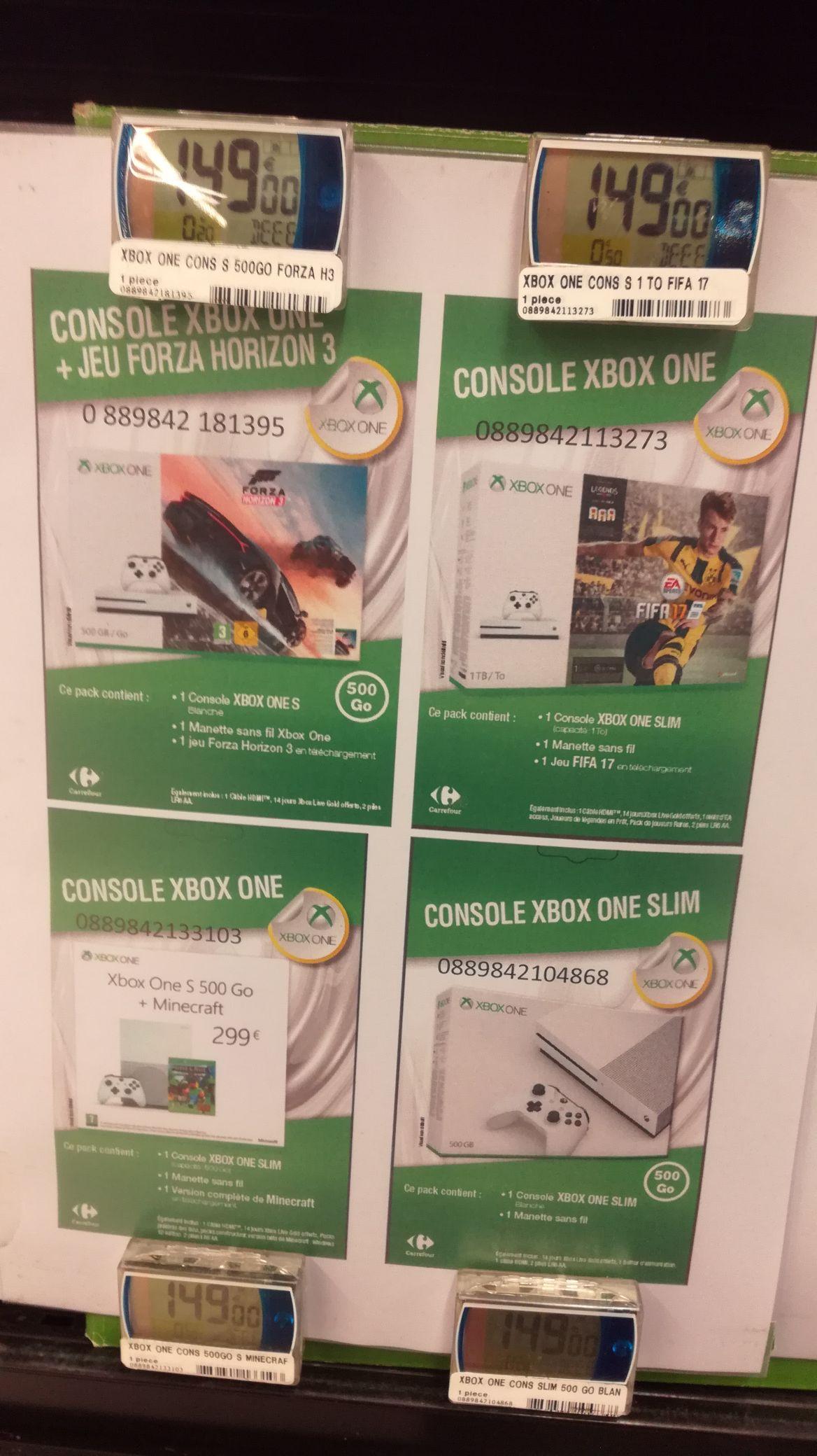 Pack console Microsoft Xbox One S (500 Go) + FIFA 17, Forza Horizon 3 ou Minecraft au Carrefour Saint-Herblain (44)
