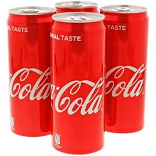 Lot de 4 canettes de soda Coca Cola - 33 cl