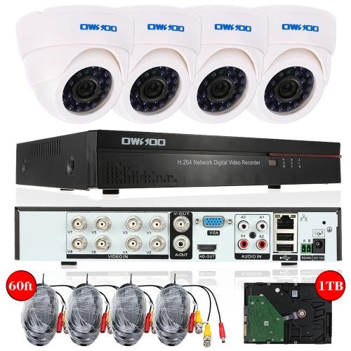 Système de surveillance OWSOO - 4 Caméras + Enregistreur vidéo + Disque dur 1 To + 4 Câbles 18m (Plug UK) - Entrepôt Allemagne