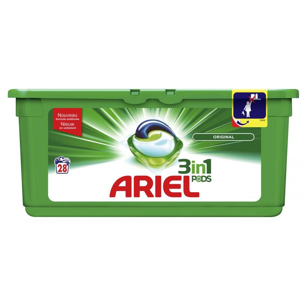 Paquet de capsules de lessive liquide Ariel Pods 3-en-1 - differents types, x28 (via BDR + 7.39€ sur la carte de fidélité)