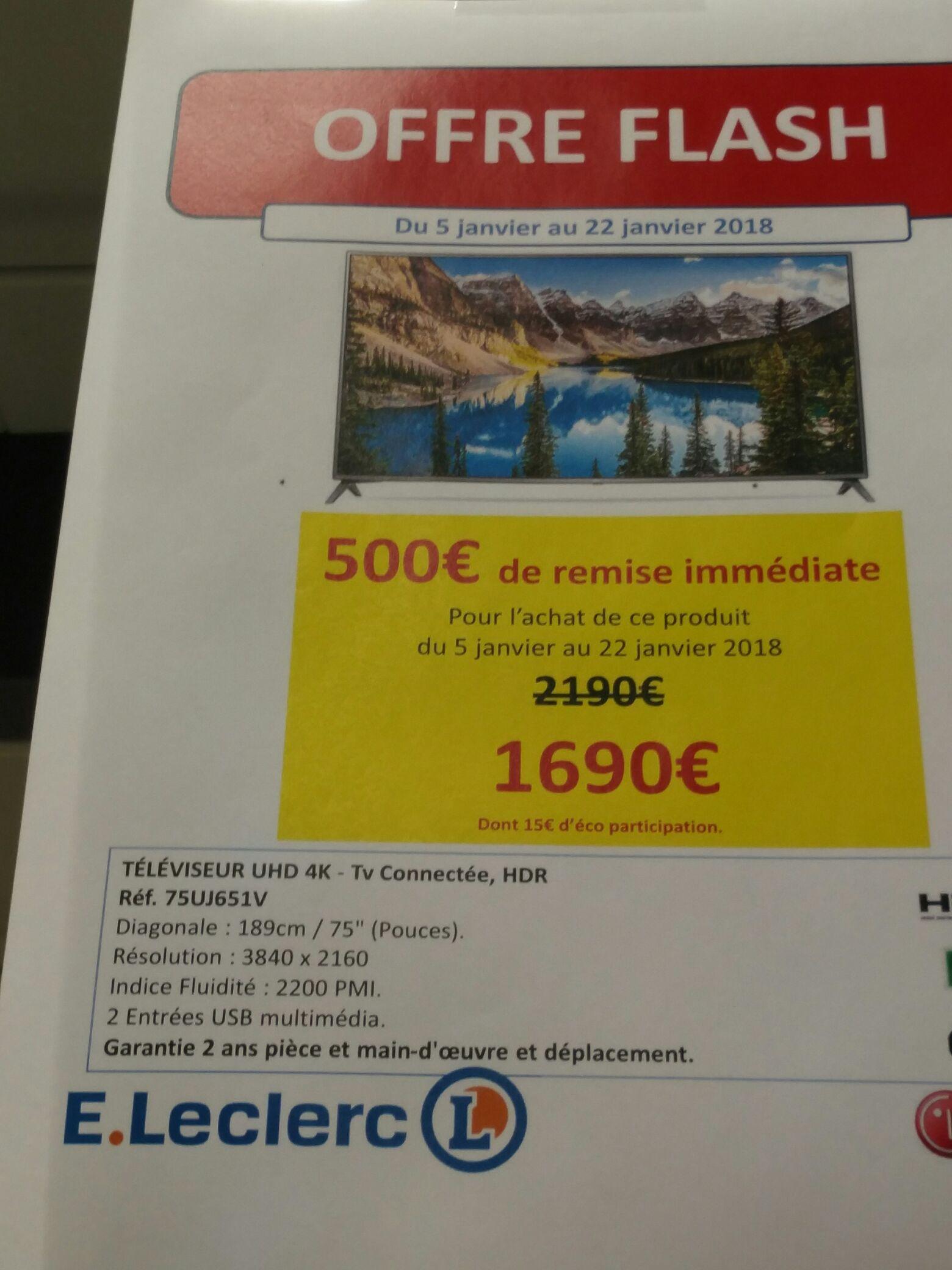 """TV 75"""" LG  75UJ651V - LED, 4K UHD, Smart TV - Jonzac (17)"""