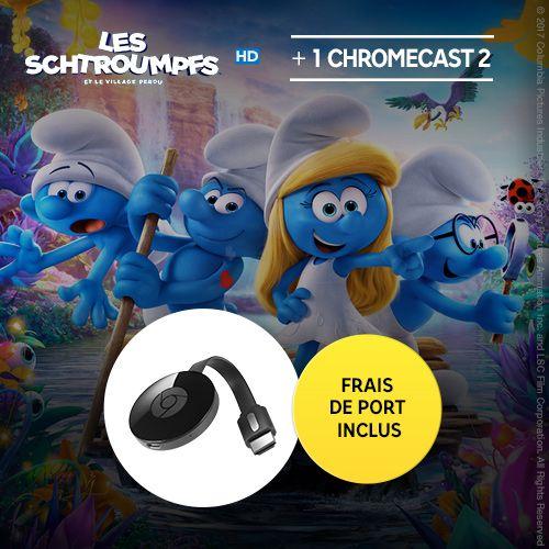 Clé HDMI Chromecast 2 + Les Schtroumpfs et le village perdu (Location 48h)