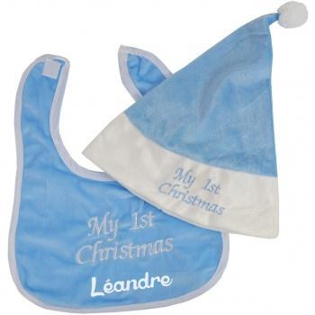 Bonnet de Noël bébé et bavoir personnalisé - Bleu (Poupi Poupi)