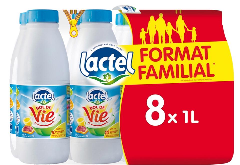 Pack de lait Lactel vitaminé, 1,2% de matières grasses - 8 x 1L - Boulogne (62)