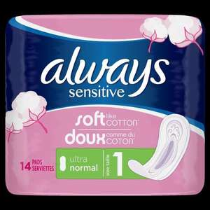 Lot de 3 Packs de 14 Serviettes Hygiéniques Always Sensitive