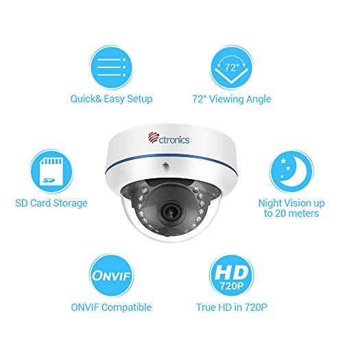 Caméra de Surveillance IP Ctronics - WiFi, HD 720P, Dome, Vision Nocturne 20m, Installation Intérieure (vendeur tiers)