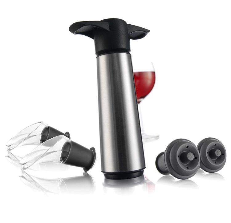 Coffret Vacu Vin 0649360 - 1 Pompe, 2 Bouchons et 2 Anti-Gouttes