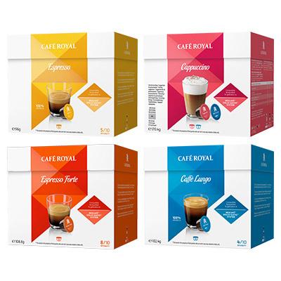 Lot de 2 boîtes de 16 Capsules Café Royal compatibles Dolce Gusto - Variétés au choix (via BDR)