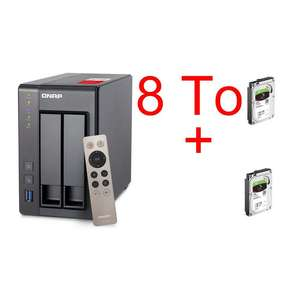 Serveur NAS QNAP TS-251+ avec 2 disques durs Seagate IronWolf 4 To