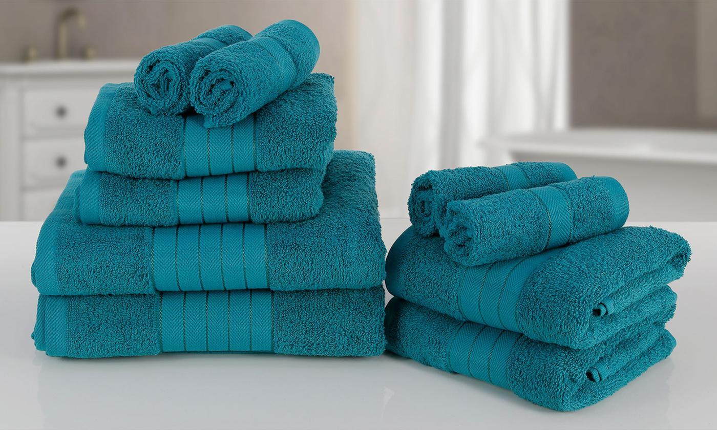 Lot de 10 serviettes en 100% coton égyptien 500 gsm - Plusieurs coloris