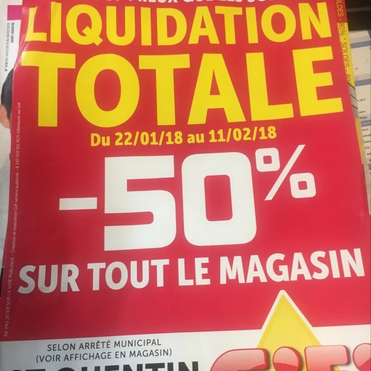 50% de réduction sur tout le magasin GiFi Saint-Quentin (02)