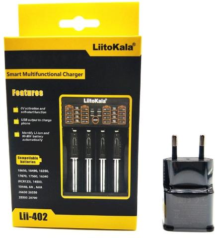 Sélection de chargeurs pour piles Liitokala + adaptateur secteur USB (5 V / 2 A) en promotion - Ex : Lii1-402 - pour 4 piles