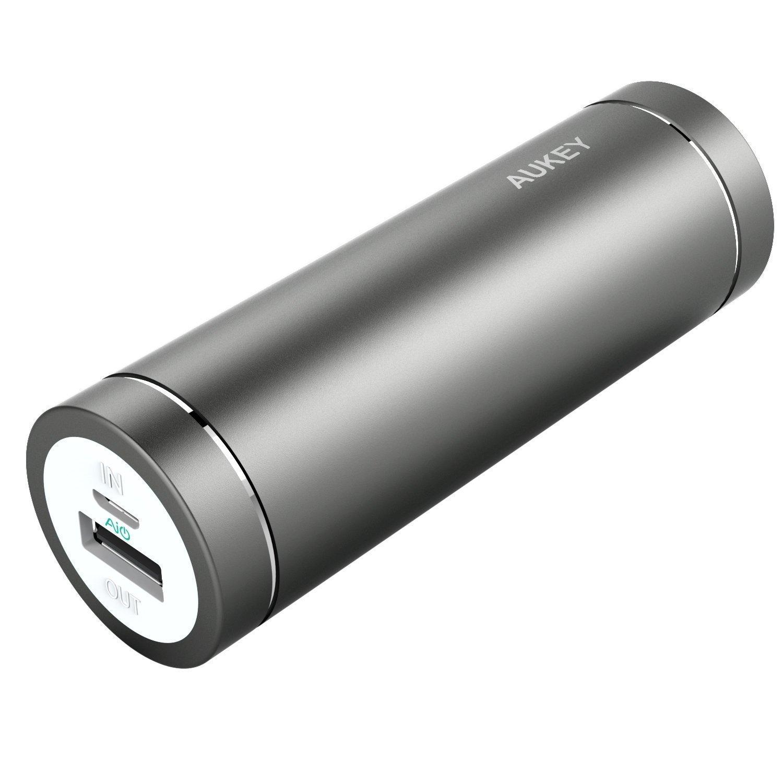 Batterie Portable Aukey  5000 mAh (Entrée 2A et Sortie 2A) avec un cable micro USB 20cm (Plusieurs coloris)