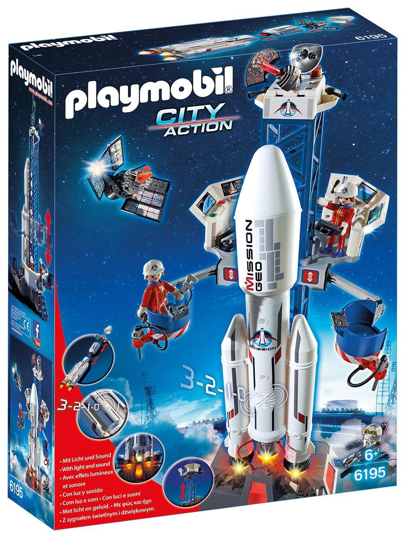Jouet Playmobil City Action Base de lancement avec fusée (6195) - avec effets sonores et lumineux