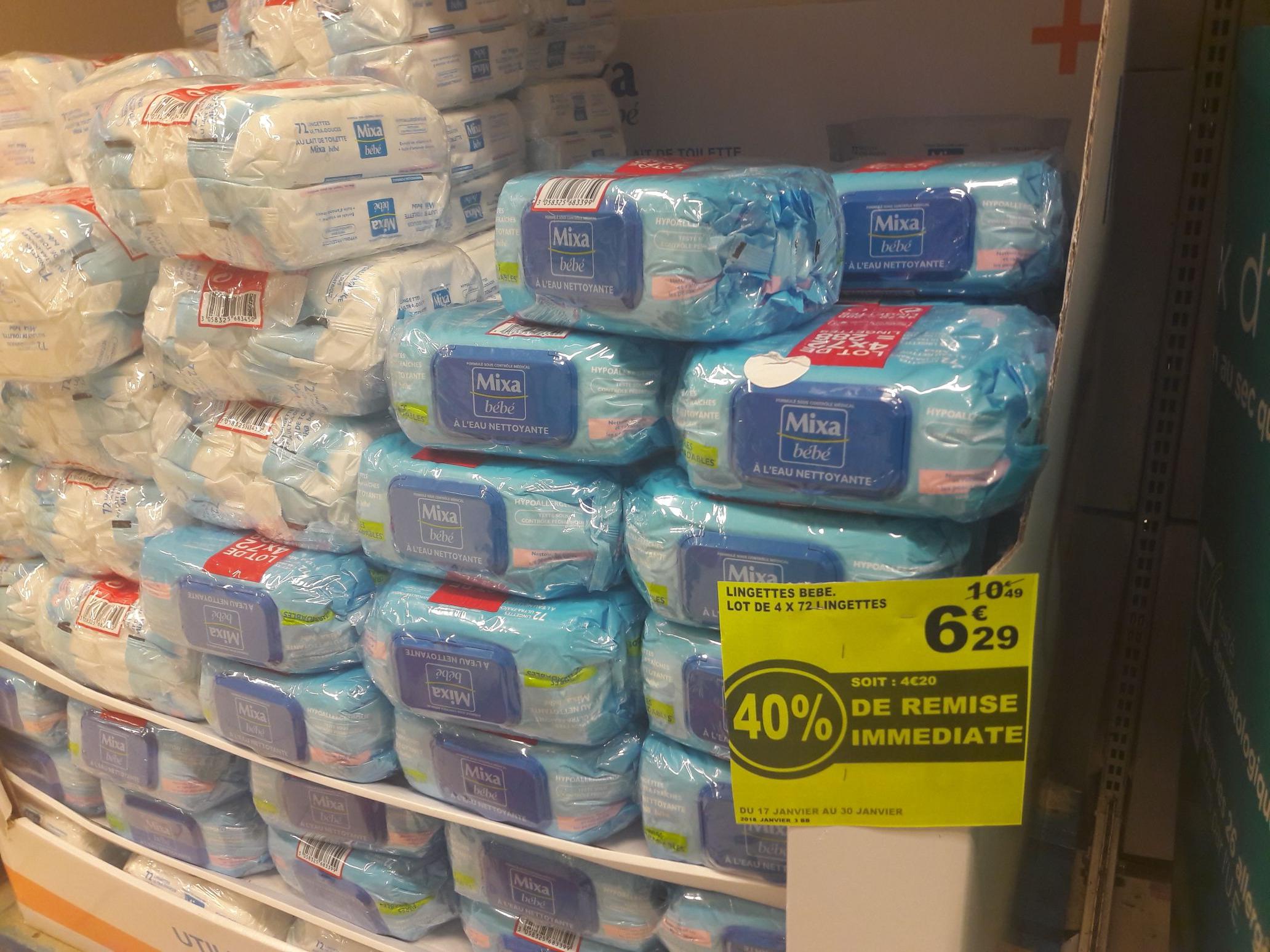 Lot de 4 paquets de 72 lingettes pour bébé Mixa Bébé - à l'eau nettoyante au Auchan Cesson (77)