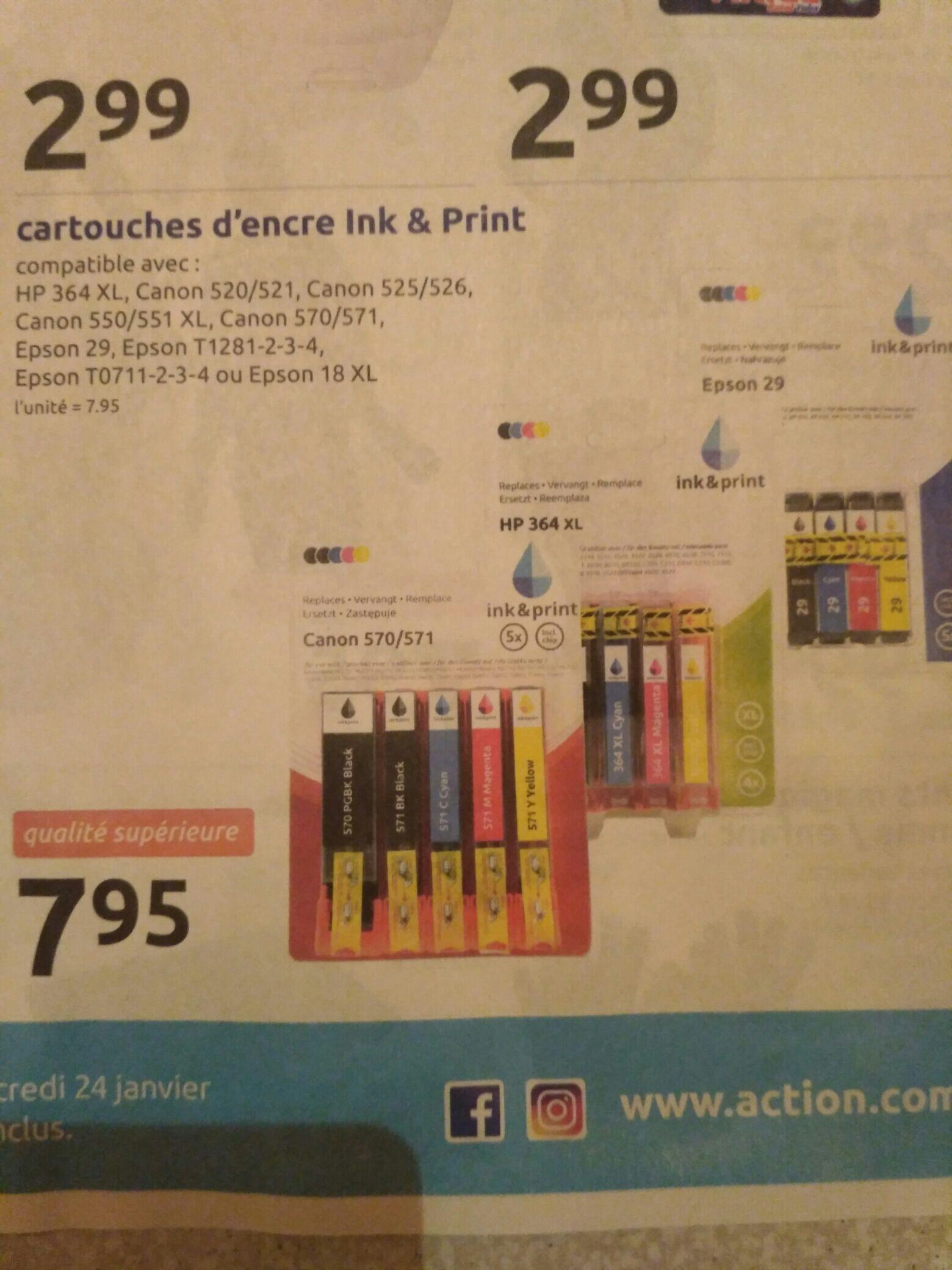 Cartouches d'encre génériques Ink & Print - différents types