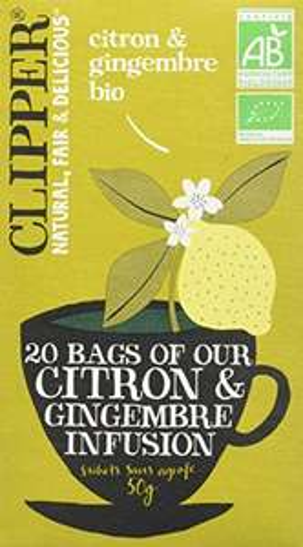 [Panier Plus] Lot de 2 paquets de 20 sachets de thé biologique Clipper Infusion - au citron & gingembre