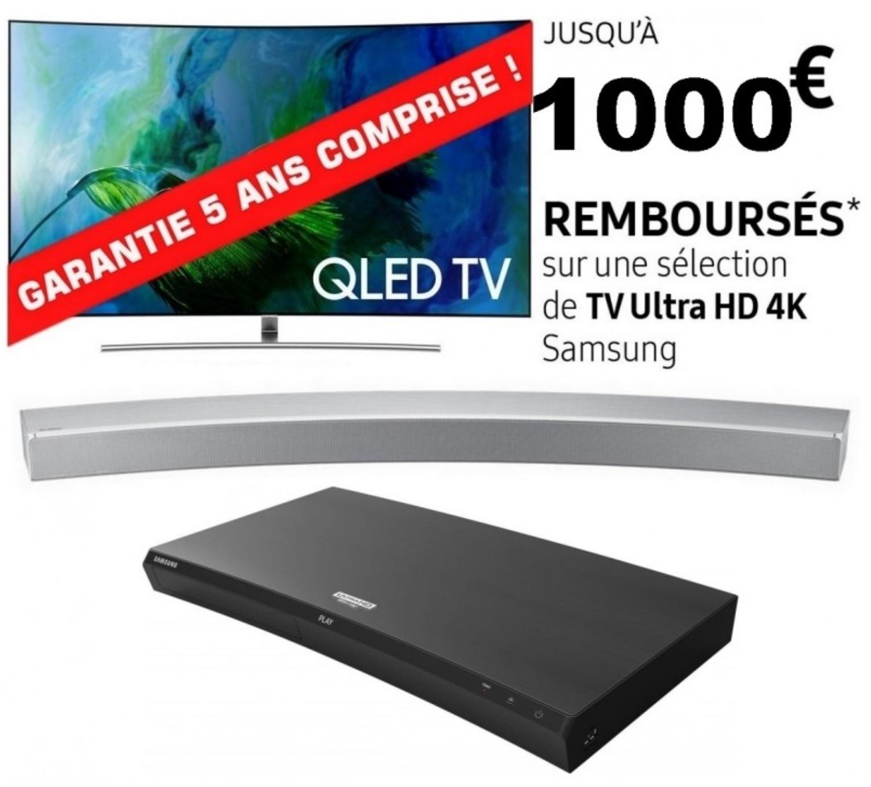 """TV 75"""" Samsung QE75Q8C + Barre de son HW-MS6501 + Lecteur 4K UBD-M9500 (via ODR de 1000€)"""