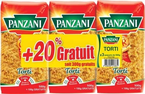 Lot de 3 paquets de Pâtes Panzani - 3x600g.