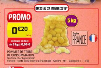 Filet de de Pommes de Terre Calibre 40 Origine France (Variétés au choix) - 5kg