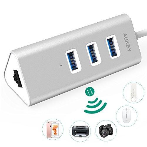 Hub USB 3.0 Aukey - 3 Ports avec 1 Port Ethernet en Aluminium Câble USB de 17cm intégré HUB Ethernet (vendeur tiers)