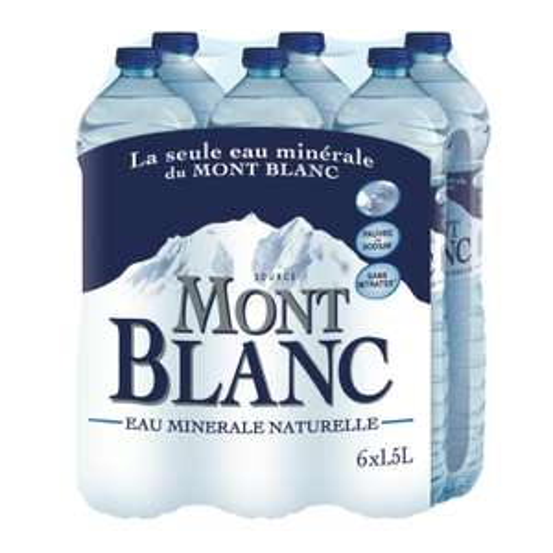 Lot de 4 Packs de 6 x 1,5 L d'eau Minérale Naturelle Mont Blanc - 24x1.5L (via Shopmium)