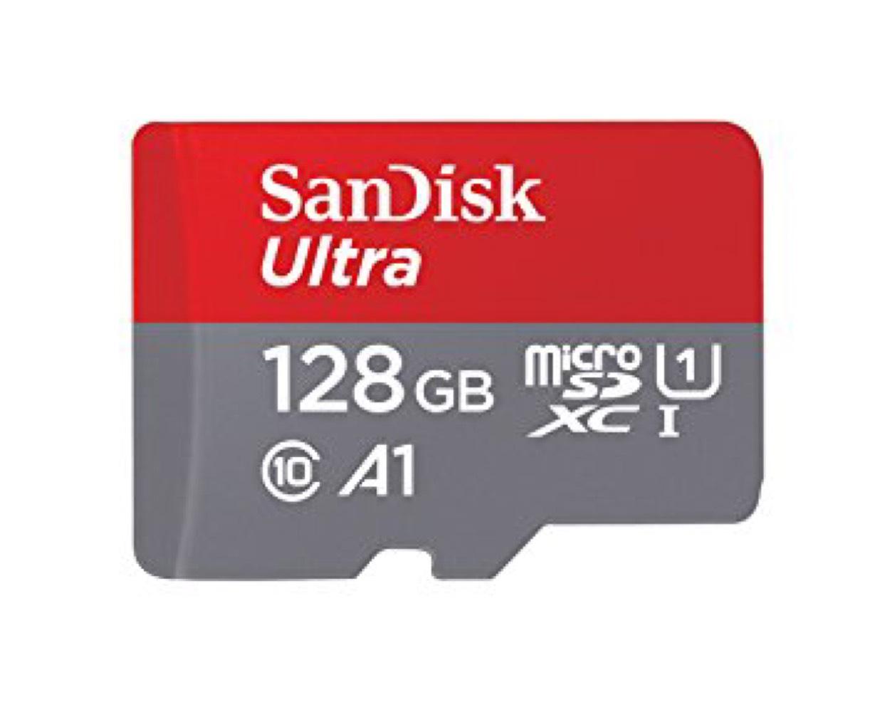 Carte MicroSDXC SanDisk Ultra Classe 10 (Jusqu'à 100Mo/s) - 128 Go (picstop.co.uk)