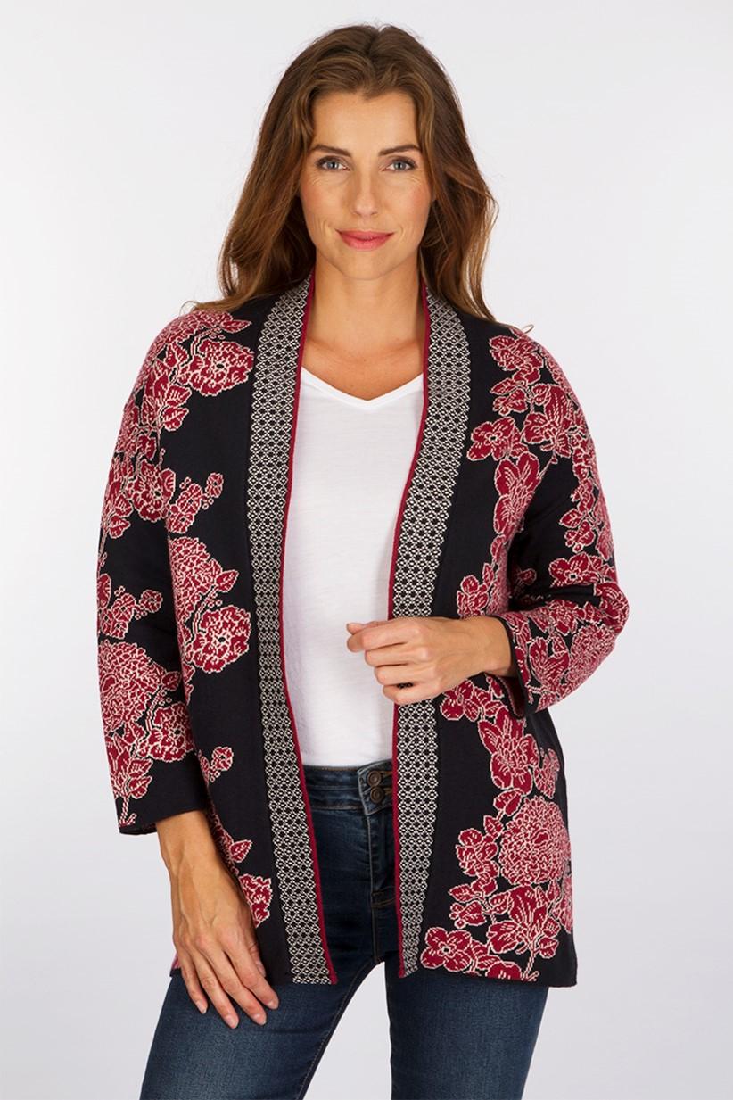 Gilet Kimono Scottage Framboise Ecrasée