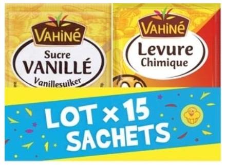 Lot de 15 sachets Vahiné - sucre vanillé et levure chimique (via BDR 1 €)