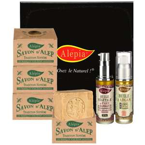 Coffret de produits de beauté aux Huiles d'Argan et de Barbarie - 2 flacons d'huiles + 4 savons d'Alep Tradition