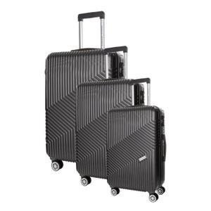 Set de 3 valises Pascal Morabito - en plastique rigibe ABS, 4 roues, différentes tailles, bleu ou gris