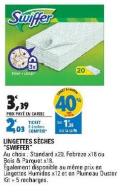Paquet de 20 Lingettes sèches Swiffer gratuites (via BDR de 2.5 € et 1.36€ fidélité)