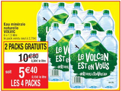 4 Packs de 6 Bouteilles d'eau Volvic - 24x1.5L