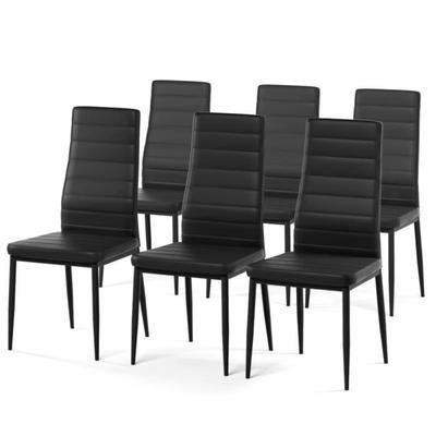 Lot de 6 chaises de salle à manger en métal SAM - Simili noir - Style contemporain -