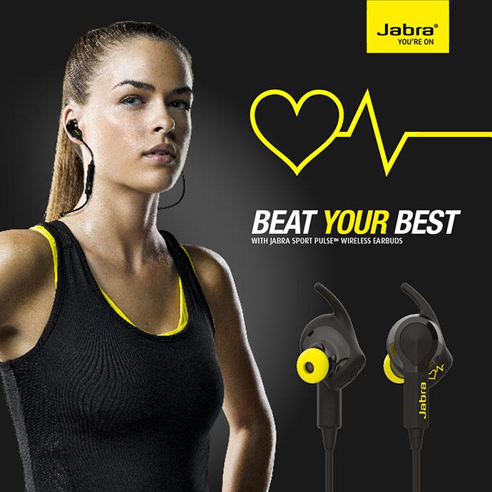 Casque Audio Sport Jabra Sport Pulse sans Fil avec Moniteur Cardiaque - Noir