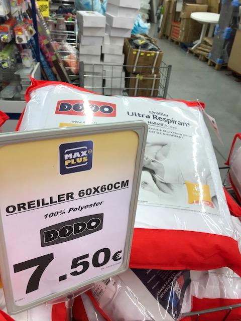 Oreiller Polyester Blanc Dodo 8307460 (60 x 60 cm) - Ultra Respirant Hollofil Active - Max Plus Saint-Alban (31)