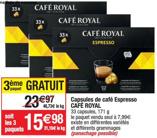 3 boîtes de 33 capsules Espresso Café Royal