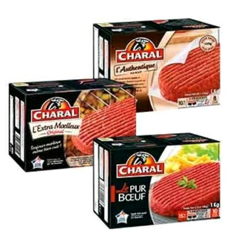 Paquet de 8 steaks hachés Charal Extra-Moelleux - 15% de matière grasse, origine France, 100 g (via BDR + ODR)