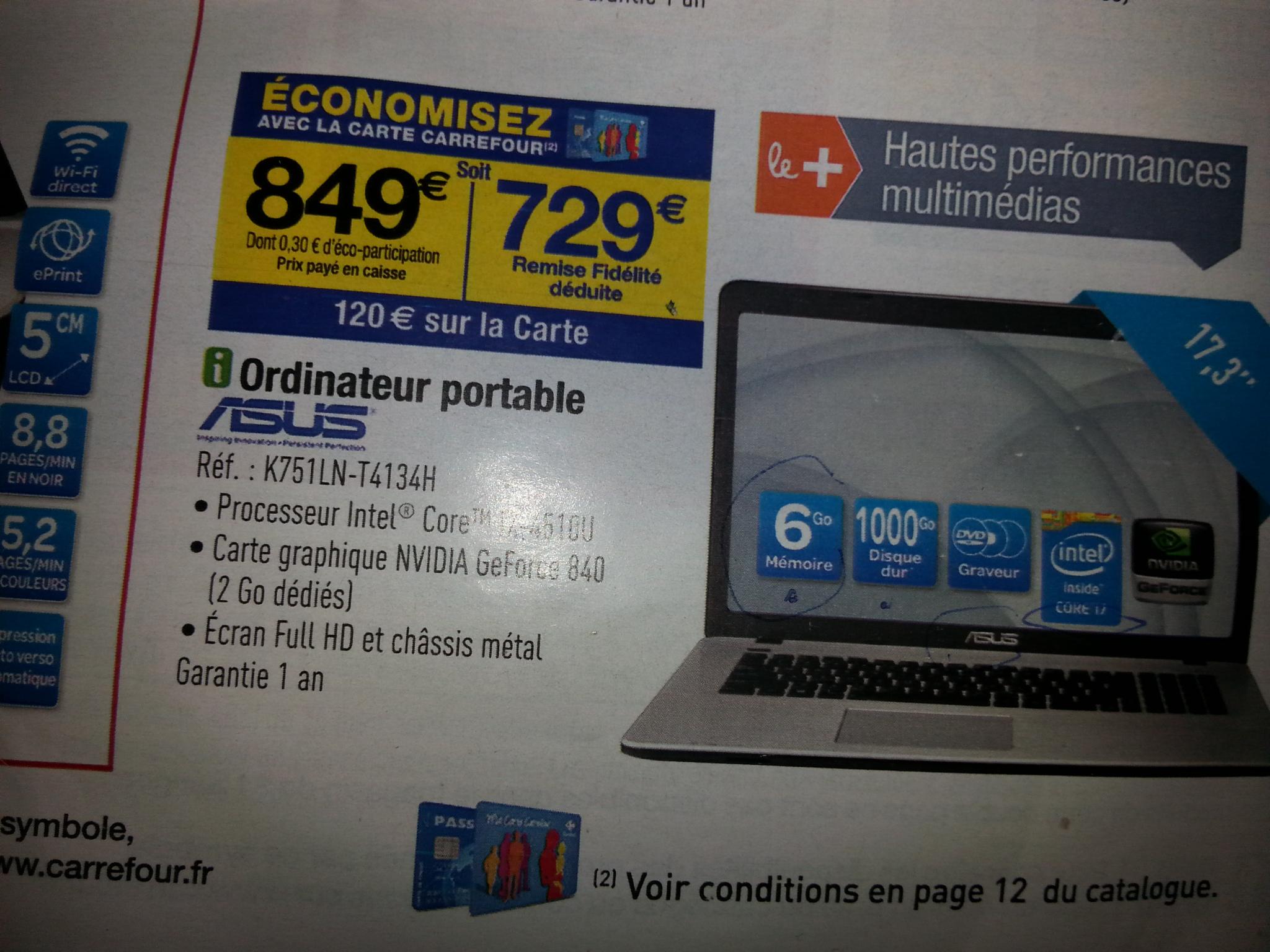 """PC Portable 17.3"""" Asus K751LN T4134H - i7-4510U - GeForce 840 (120€ crédité sur la carte)"""