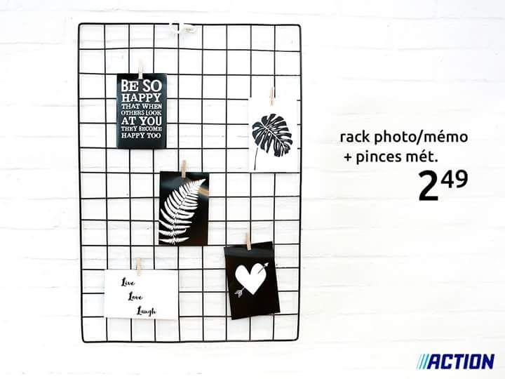 Support rack pour photos / mémos - en métal, avec pinces